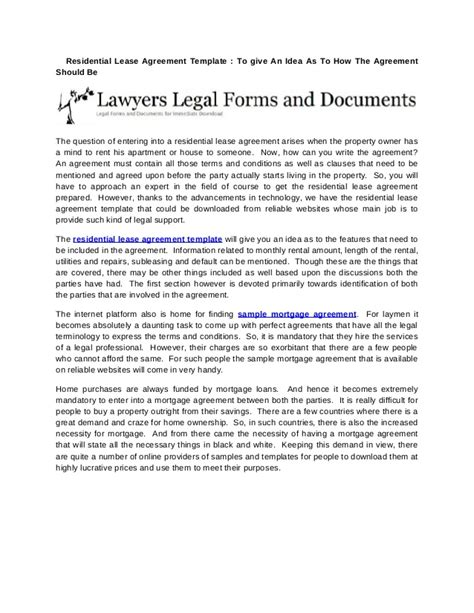 Residential Lease Agreement Template  To Give An Idea As