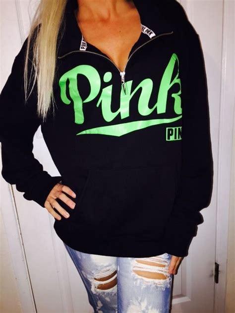 M-L Victoriau0026#39;s Secret BLACK Half Zip fleece sweatshirt Jacket LOVE PINK SOLD OUT | eBay