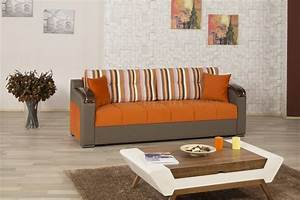 Divan deluxe signature sofa bed in orange fabric by casamode for Divan sofa bed