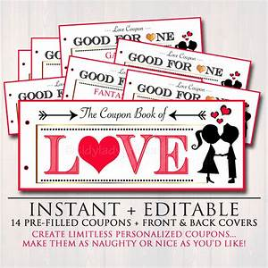 editable love coupon book instant download printable love With coupon book for husband template