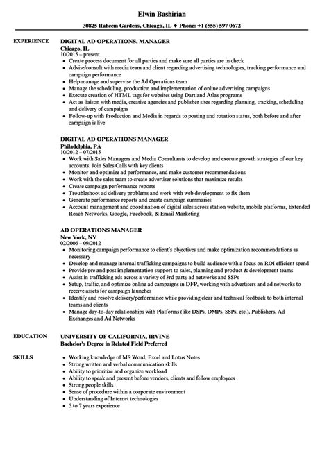 ad operations manager resume sles velvet