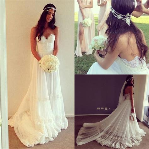 2016 New Vintage Bohemian Beach Whiteivory Lace Wedding