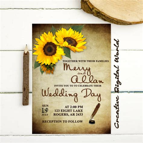 sunflower wedding invitation templates psd ai word