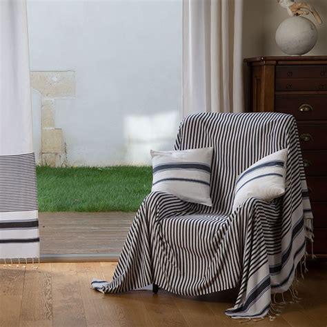 jete canape jeté de canapé rectangulaire blanc avec des rayures bleu