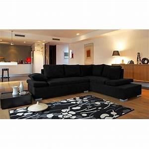 Deco salon avec canape noir for Canapé 3 places pour idée déco tableau salon