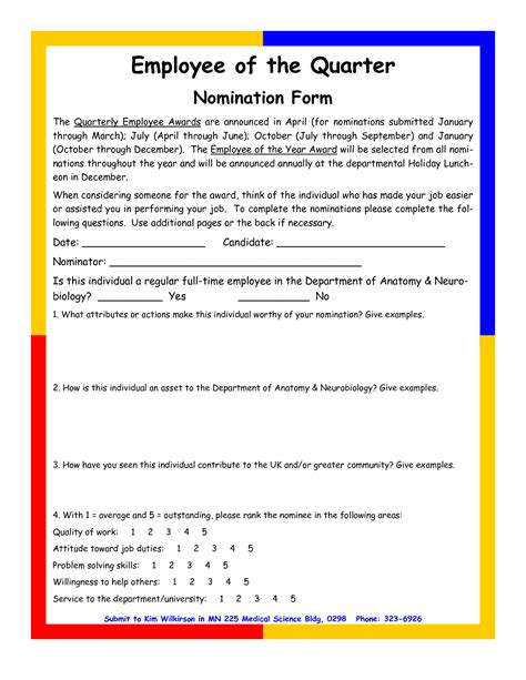 employee recognition nomination letter