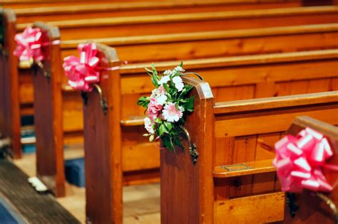large pull bows wedding decoration church pews top