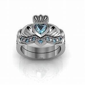 sterling silver blue topaz claddagh love and friendship With claddagh engagement and wedding ring sets