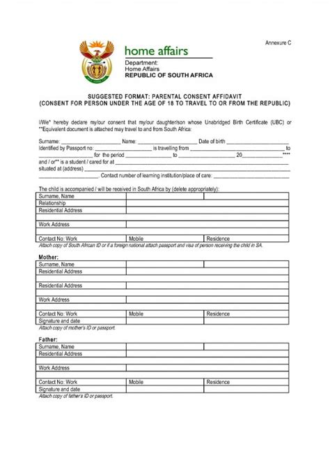 affidavit of consent form parental consent affidavit flywell