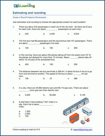 grade 4 estimating and rounding word problem worksheets k5 learning