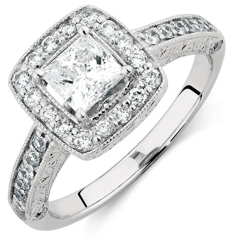engagement ring with 1 1 4 carat tw of diamonds in 14ct white gold