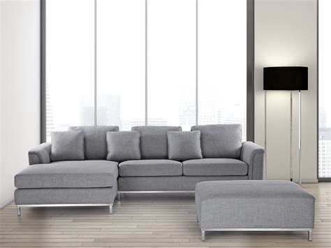 Modern Sectional Sofa In Fabric With Ottoman  Oslo Light