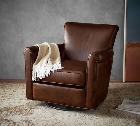 Pottery Barn Irving Chair Recliner by Irving Leather Swivel Rocker Pottery Barn
