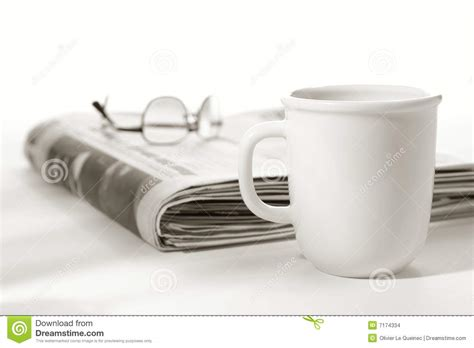 This video is about how to make beautiful coffee painting on newspaper base in easy steps. Newspaper With Glasses On Top And Cup Of Coffee Stock Photo - Image of informative, information ...