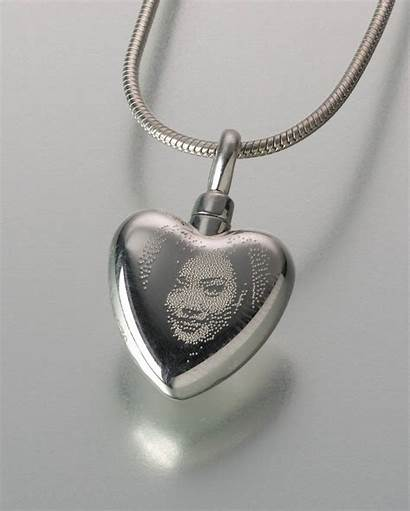Jewelry Etched Heart Keepsake Laser Cremation Pendant
