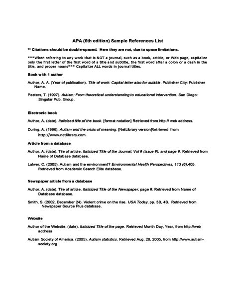 Apa Resume References by Apa Sle References List Free