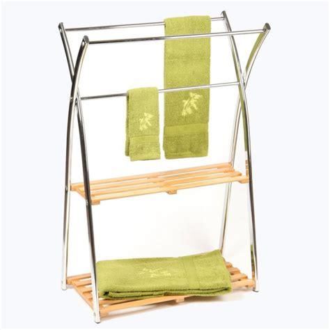 porte serviettes en bambou et inox 3 barres et 2 233 tag 232 res rangement salle de bain ac deco