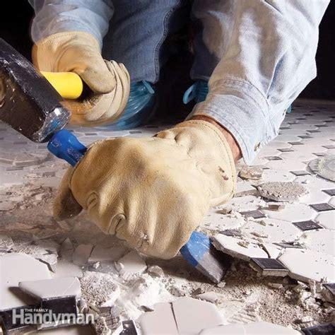 remove ceramic tile   concrete floor  family