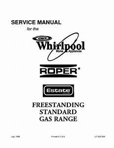Whirlpool Roper And Estate Freestanding Standard Gas Range Service Manual Download  Schematics