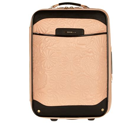 light pink suitcase river island light pink floral quilted suitcase in pink lyst
