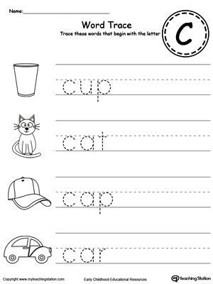 trace words that begin with letter sound c fine motor pictures and names