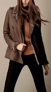 Lyst Burberry Brit Cropped Shearling Trench Coat In Brown