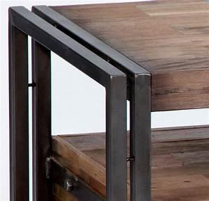 Meuble Tv Fer : meuble bas t l vision fer bois 3 tiroirs ~ Teatrodelosmanantiales.com Idées de Décoration