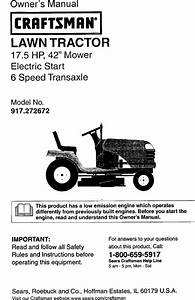Craftsman 917272672 User Manual Lawn Tractor Manuals And