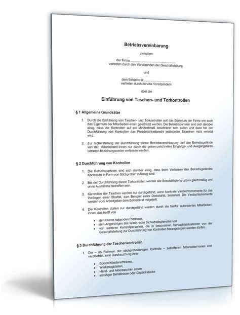 betriebsvereinbarung taschen und torkontrolle muster