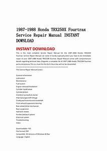 1987 1988 Honda Trx250 X Fourtrax Service Repair Manual