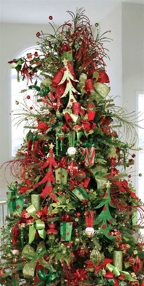 christmas tree red green glitter christmas trees