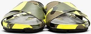 Valentino Yellow Camo Cross strap Sandals in Green for Men