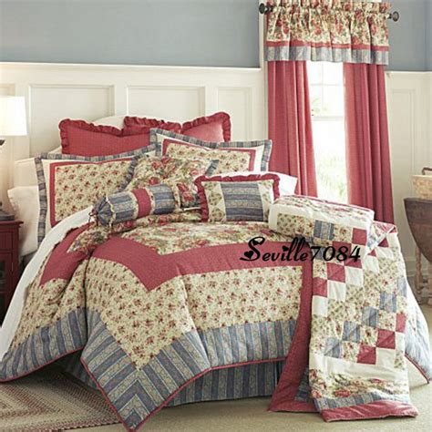 jc penneys quilts 10p comforter quilt roses burgundy blue drapes