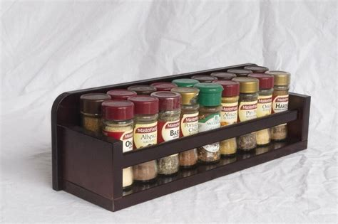 Timber Spice Rack by Wooden Spice Rack Open Top 1 Tier Wooden Bar 18
