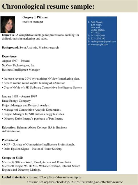 top 8 tourism manager resume sles