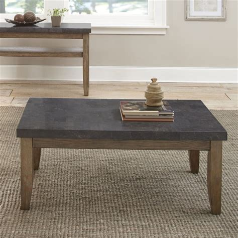 The inside deceives you too. Steve Silver Debby Bluestone Top Coffee Table in Driftwood ...