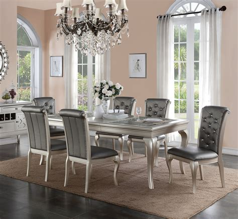 poundex  metallic silver dining set orange county