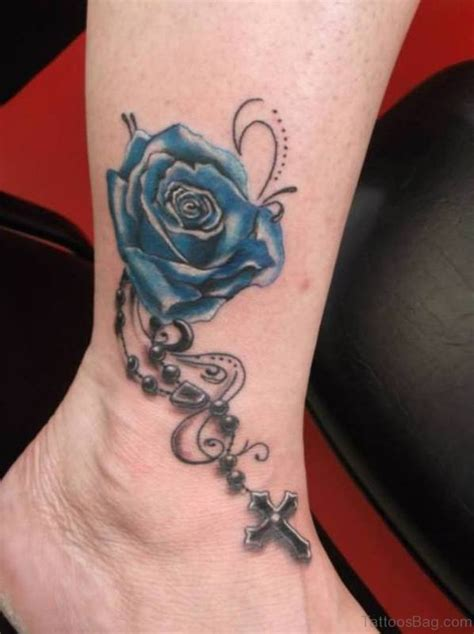 stunning blue rose tattoos  ankle