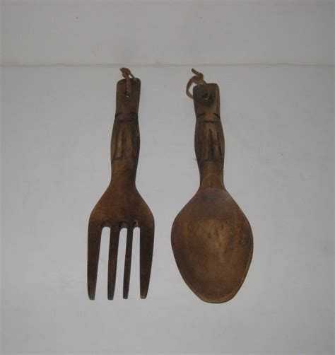 wooden fork and spoon wall hanging vintage wooden tiki spoon and fork wall hanging by