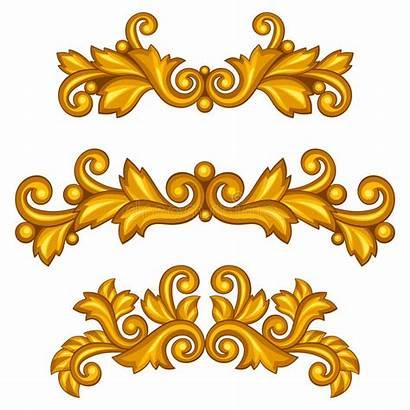 Baroque Scrolls Antique Clip Ornamental Oro Dell