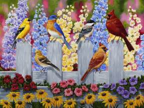Spring Flowers and Bird Paintings