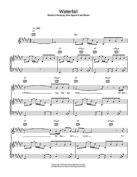 note waterfall waterfall sheet music by the stone roses piano vocal guitar 38518