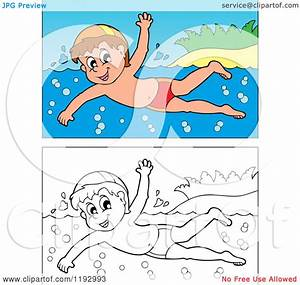 children swimming clipart black and white - Clipground