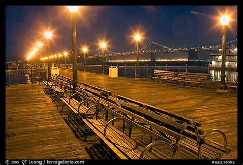 picturephoto benches  lights  pier   bay