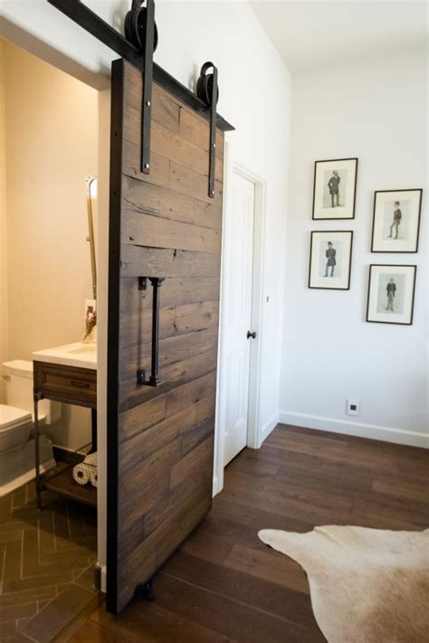 reclaimed wood barn door   rolling  bathroom