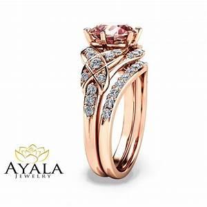 14k rose gold vintage engagement ring rose gold morganite With vintage wedding rings rose gold