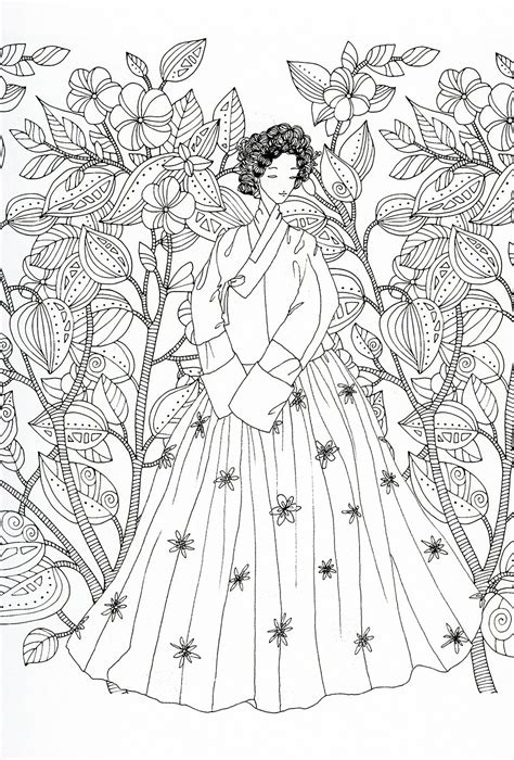adult coloring page korean traditional clothing