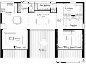plan de maison en u avec terrasse ooreka With plan maison avec patio 1 plan de maison traditionnelle estran