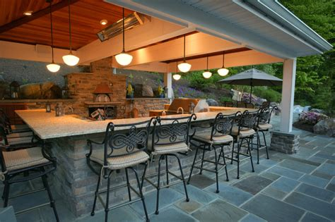 Tuscan Decorating Ideas For Patio by Outdoor Kitchen With Pizza Oven Traditional Deck Dc