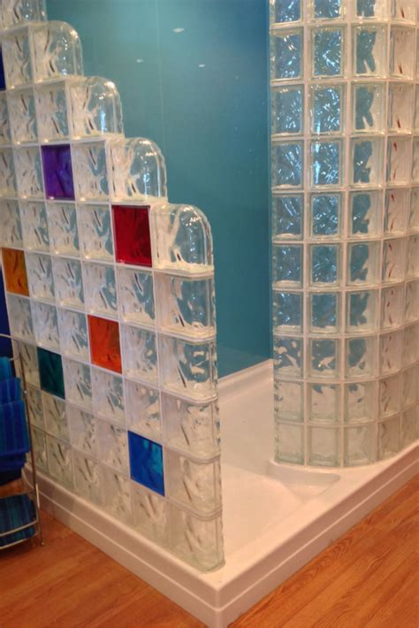 compare shower pans   glass block wall